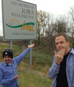 Skip and Doc in Iowa on the way from Omaha to Sioux Falls
